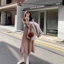 JHXun过膝针织鱼ve裙女长袖内搭2020秋冬新式中长式显瘦打底裙