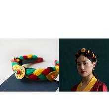 藏族头un女藏式 藏un 压发辫子西藏女士编假头发民族发箍毛线