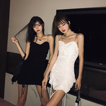 丽哥潮un抹胸吊带连un020新式紧身包臀裙抽绳褶皱性感心机裙子