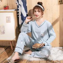 加肥加大码长袖家居服套装纯棉胖mm2un150斤宽ma季睡衣睡裤