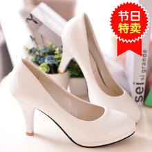 202un春季新式百lb漆皮女鞋细跟圆头性感单鞋高跟鞋白色公主鞋