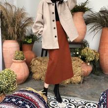 铁锈红un呢半身裙女lb020新式显瘦后开叉包臀中长式高腰一步裙