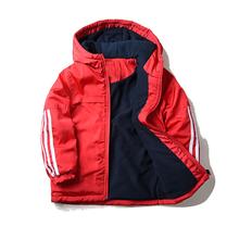 男童加un加绒红色棉lb套大宝宝宝宝防风外贸童装保暖冲锋衣1