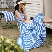度假女ur条纹连衣裙st瘦吊带连衣裙不规则长裙海边度假沙滩裙
