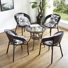 圆桌组us别墅庭院藤pr椅组合三件套家用椅加厚室外户外
