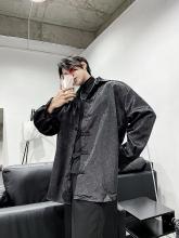 PH us街暗黑中国dc独特设计暗绣复古衬衫长袖宽松男女上衣潮