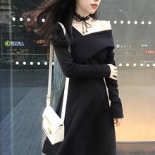 秋装女us020新式dc袖复古斜肩连衣裙露肩显瘦赫本风chic(小)黑裙