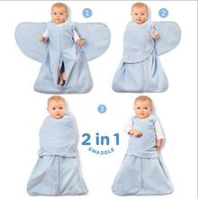 H式婴ut包裹式睡袋pi棉新生儿防惊跳襁褓睡袋宝宝包巾防踢被