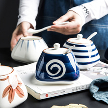 舍里日ut青花陶瓷调rl用盐罐佐料盒调味瓶罐带勺调味盒
