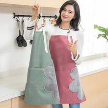 家用可uu手女厨房防56时尚围腰大的厨师做饭的工作罩衣男