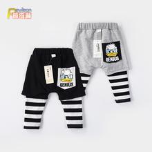 0-1uy3岁(小)童春bb宝裤子假两件婴儿大PP裤哈伦裤外穿春秋季潮2