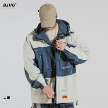 BJHGuz连帽外套男vb021新款街舞抽绳OVERSIZE情侣宽松工装夹克