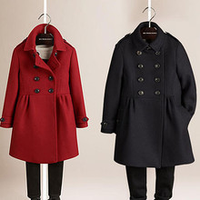 202v7秋冬新式童7t双排扣呢大衣女童羊毛呢外套宝宝加厚冬装