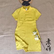 素荷原va上衣女 夏ar 新式棉麻改良旗袍上衣(小)立领民族风衬衫