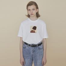 PROvaBldg em计 情侣装夏装T恤女宽松短袖T恤黑色上衣