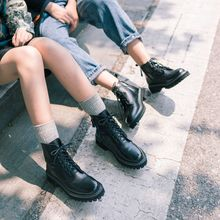 柒步森va真牛皮马丁em020春秋新式厚底英伦风单短靴(小)个子增高