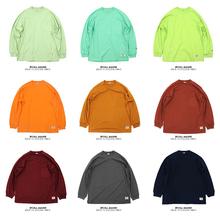 BPCALLva320SSfr果色纯棉廓形口袋长袖T恤男女式