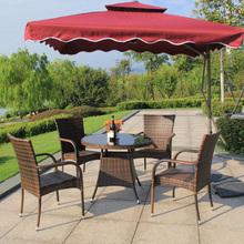 户外桌va伞庭院休闲li园铁艺阳台室外藤椅茶几组合套装咖啡