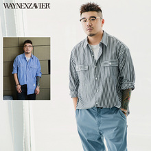 韦恩泽vb尔加肥加大fz码休闲商务宽松条纹长袖衬衣衬衫男5999