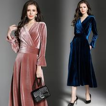 真丝绒连衣裙秋长袖高端气质大码vd12肚减龄ll会重磅连衣裙