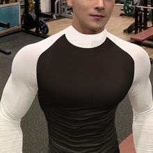 肌肉兄ve紧身衣男长mqT恤运动弹力高领篮球跑步训练速干衣服