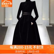 欧洲站ve020年秋om走秀新式高端气质黑色显瘦丝绒连衣裙潮