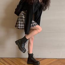 红的馆学院ve格子半身裙id20年夏季新款学生高腰a字百褶裙短裙