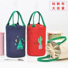 加厚帆布圆桶饭ve4包上班族ad便当包大容量便携手提带饭袋子