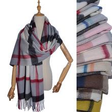 包邮纯羊毛围巾ve4肩女冬季as格子围巾羊绒披肩秋冬加厚