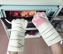 猫咪猫ve创意厨房隔ac手套防烫加厚烤箱耐高温微波炉专用手套