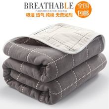 六层纱ve被子夏季纯mo毯婴儿盖毯宝宝午休双的单的空调