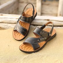 201ve男鞋夏天凉mo式鞋真皮男士牛皮沙滩鞋休闲露趾运动黄棕色