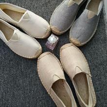 春夏季ve麻草编蕾丝mo渔夫鞋男女一脚蹬懒的透气平底帆布单鞋