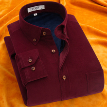 冬季灯ve绒长袖保暖mo中老年加绒加厚保暖衬衣男装条绒休闲潮