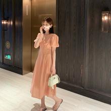 高腰显veV领泡泡袖us连衣裙女夏季2020新式韩款法式气质裙子