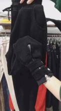 黑红白色灯芯绒裤子女ve7松萝卜裤se拉链(小)脚九分哈伦休闲裤