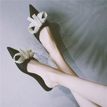 拖鞋女ve0外穿20se韩款平底尖头浅口蝴蝶结珍珠半拖鞋网红凉拖