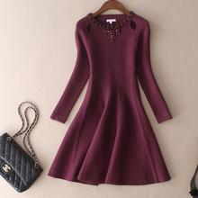 秋冬季ve式欧美大牌ti质女装修身加厚羊毛内搭打底针织连衣裙
