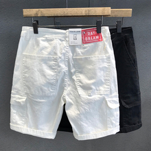 夏季薄ve潮牌大方袋ti牛仔短裤男宽松直筒潮流休闲工装短裤子