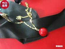 仿红色珊瑚吊坠18Kve7镶嵌圆转ti坠本命年生日珍珠贝珠大红