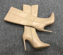 202ve秋冬新品长vj牛皮尖头细跟时装靴侧拉链修腿高筒靴女靴子