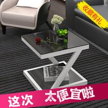 简约现vi边几钢化玻ra(小)迷你(小)方桌客厅边桌沙发边角几