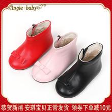 女童短vi牛皮宝宝靴ra加绒蝴蝶结真皮靴中(小)童侧拉链低筒皮靴