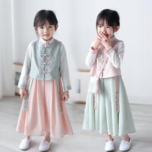 女童汉服春vi粉色马甲外as绿色连衣裙子套装包包成的