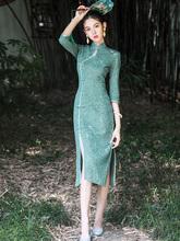 改良款vi式老上海中as雅年轻式复古民国连衣裙古装夏