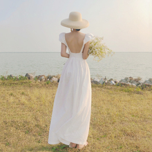 三亚旅vi衣服棉麻白as露背长裙吊带连衣裙仙女裙度假