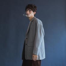 韩国简约条vi2西装外套es式春季oversize慵懒文艺灰色西服潮