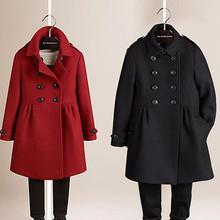 202vi秋冬新式童es双排扣呢大衣女童羊毛呢外套宝宝加厚冬装