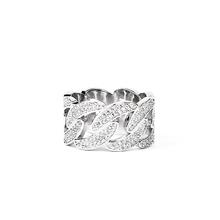 Iceviout Cesn link ring镀白金银色镶满钻古巴链戒指男女 高