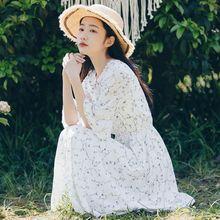 白色碎vi连衣裙女夏ra收腰雪纺裙子仙女超仙森系长裙学生初恋